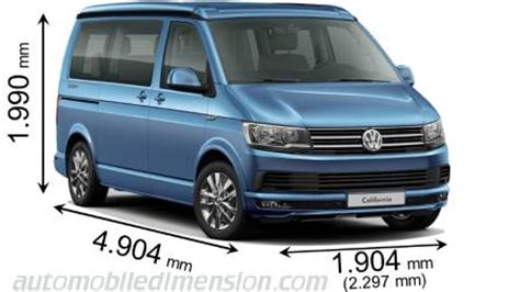 Dimensions of Volkswagen cars showing length, width and height