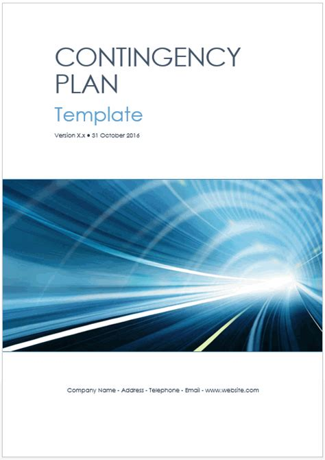 Contingency Plan Templates (MS Word + 9 x Excels