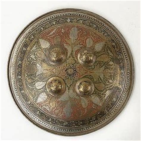 Antique Indian Dhal Bronze Shield with Enamel, c